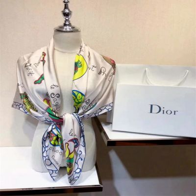 Hot Selling Dior Beige Silk Twill Colorful Printing Ladies Square Scarf Price Canada 90×90 cm 86AST090I610_C412