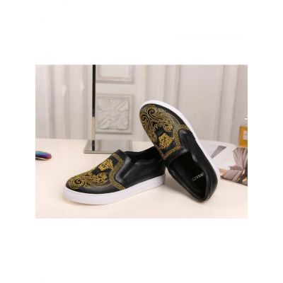 2017 Spring/Fall Versace Medusa Embroidery Pattern Womens Slip-on  Jacquard Calfskin Leather Loafers Black/White