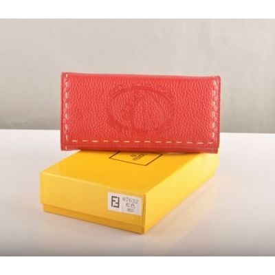 Cheapest Fendi Horse Stamped Hand Stitching Edge Ladies Double Compartments Red Calfskin Leather Flap Wallet