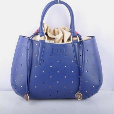 Women's Luxurious Perforated Fendi B Fab Blue Leather Large Handbag Leather String Closure Red Shoulder Strap