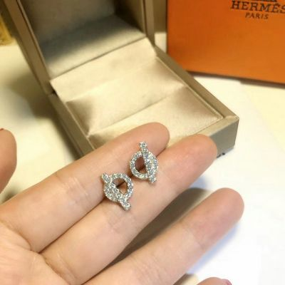 Hermes Circle With Bar Crystals Earrings Chic Style Price In UK Office Lady