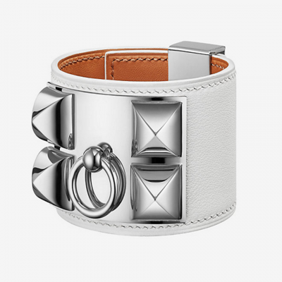 Hermes Collier De Chien White Leather Replica Wide Bracelet With White Gold-plated Rivets Women Singapore H066850CK01T2