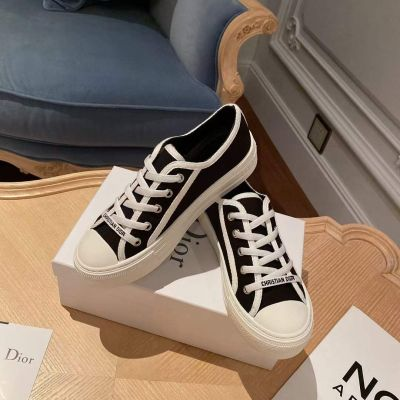 Spring Fashion Walk'N'Dior Classic Black Whtie Cotton Lace-up White Rubber Sole Fake Sneakers For Ladies