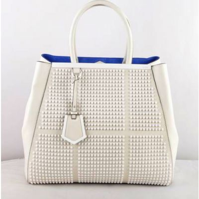AAA Quality Fendi 2Jours White Saffiano Leather Expandable Gusset Ladies Totes Homochromatic Rivets Silver Hardware
