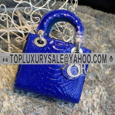"""2017 Dior Sapphire Blue Hot Selling """"Lady Dior"""" Snakeskin Default Tote Bag Shining D.L.O.R Charm"""