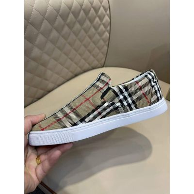 2021 Summer Fashion Burberry Leather Lining Beige Check Ultra Lightweight White Sole Mens Slip-on Shoes Price List