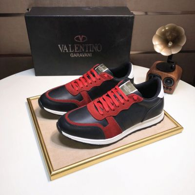 2018 Hot Selling Valentino Mens Calfskin & Suede Low-top Lace-up Sneakers Red/White/Black Replica