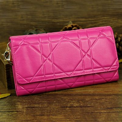 Most Fashion Ladies Dior Rose Red Patent Leather Flap Cannage Continental Wallet Golden Hardware