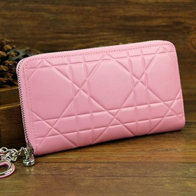 """Latest Women's Zip-around Dior """"Lady Dior"""" Pink Patent Leather Escapade Cannage Wallet Zip Pocket"""