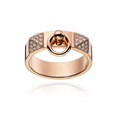 Hermes Collier De Chien Diamonds Band Circle Charm Silver/ Rose Gold Plated Trendy Lady Jewelry H115610B 00046