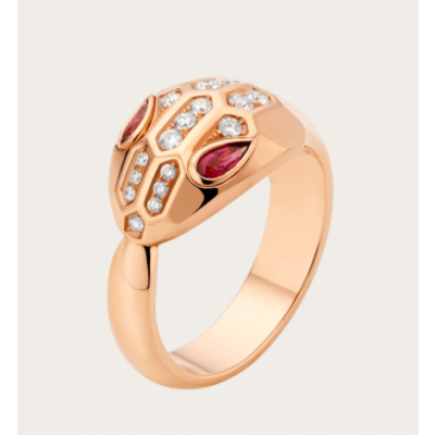 Bvlgari Serpenti Ruby Snake Eyes Crystals Band Silver /Rose Gold Plated Party Style Lady Jewelry AN857719