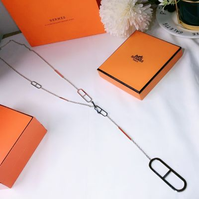 Simple Fashion Hermes Ever Chaine D'Ancre Anchor Chain & Bar Charm Women White Gold Replica Long Necklace H116205B 00