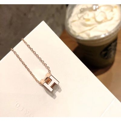 Hermes Unique Style Cage D'H Three-Dimensional Cube Logo Pendant Women Rose Gold & Enamel Necklace Replica