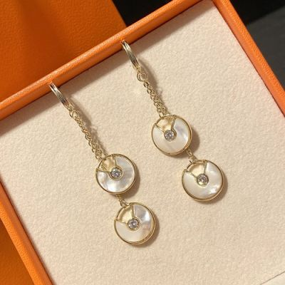 Cartier Yellow Gold Amulette De Douoble White MOP Diamonds & Opal  Pendants Drop Earrings For Ladies Replica
