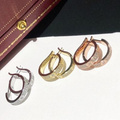 Most Classic Cartier Love Paved Diamonds Narrow Model Hoop Earrings For Ladies Silver/Yellow Gold/Rose Gold