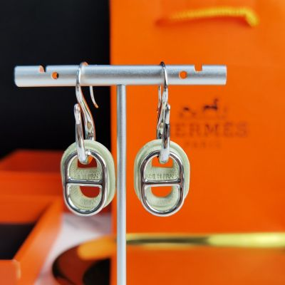 Hermes Celebrity Same O'Maillon Anchor Chain Leanter & Metal Pendant Women Earrings Price List Silver/Yellow Gold