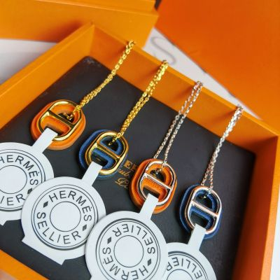 2021 Classic Hermes O'Maillon Anchor Chain Shaped Leather And Gold-tone Pendant Necklace For Ladies Silver/Yellow Gold