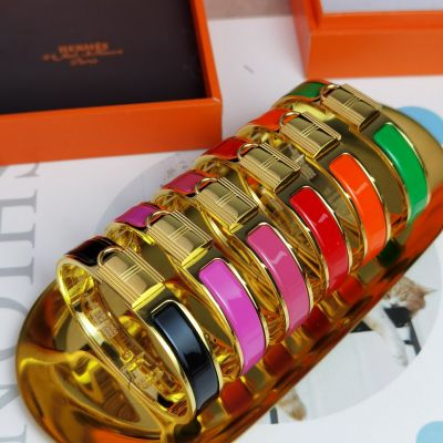 Hermes Collier De Chien Enamel & Yellow Gold Plated Females Lock Design High End Bangle Price Online
