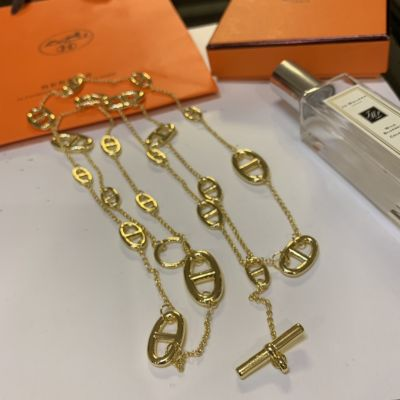 Best Price Hermes Farandole Simple Anchor Chain Design Long Chain Faux Necklace For Ladies Silver/Yellow Gold