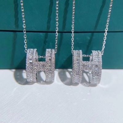 Spring Hot Selling Hermes Cylindrical H Logo Pendant Women White Crystals & Diamonds 925 Sterling Siver Necklace For Sale Online