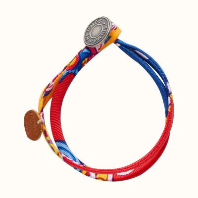 Hermes Petit H Leather Sterling Silver Round Trimming Females Silk Bracelet Blue/Yellow Price Online Replica