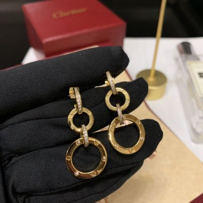 Timeless Style Cartier Paved Diamonds Four Circles Women Love Drop Earring Yellow Gold/Rose Gold