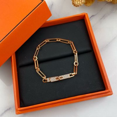 Best Replica Hermes Kelly Women High End Diamonds Buckle Charm Thick Chain Bracelet Price Canada Silver/Yellow Gold/Rose Gold