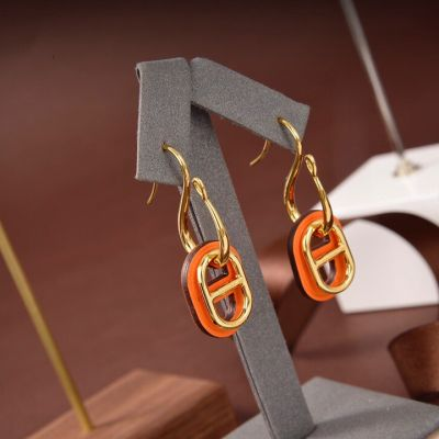 Hermes Classic O'Maillon Orange Leather & Yellow Gold Plated Chaine d'Ancre Pendant Females Faux Drop Earrings