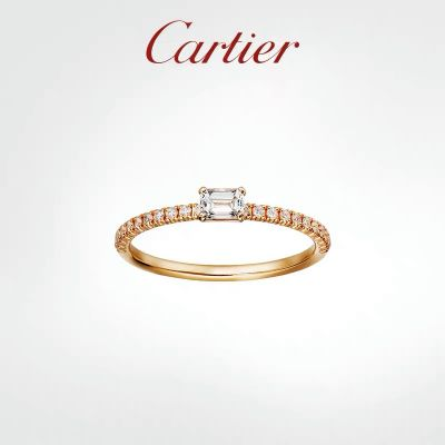 Hot Selling Cartier Etincelle de Cartier Fashion Paved Diamonds Ring Ladies Rectangle Crystal Wedding Ring Rose Gold  B4216700