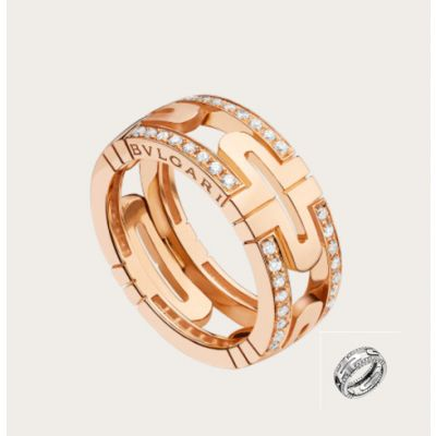 Bvlgari Ladies' Parentesi Round Crystals Hollow Ring Silver/ Rose Gold Plated Retro Jewelry Online Shop An853963/An856914
