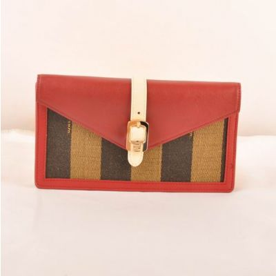 Trendy Fendi White Belt With Golden Buckle Womens Red Calfskin Leather & Striped Fabric Zucca Flap Wallet