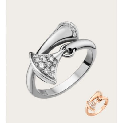 Bvlgari Divas' Dream Crystals Skirt Pendant Ring Silver/Rose Gold Plated Valentine Gift Women Jewelry An857491/An857373