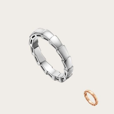 Bvlgari Women'S Serpenti Narrow Band Silver/Rose Gold Plated Uique Style High-End Wedding Jewelry AN856869/AN856868