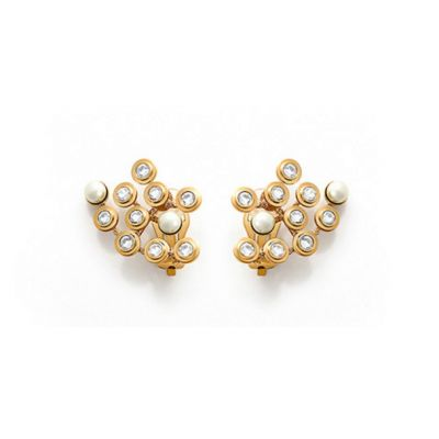 Mise En Dior Pearls & Crystals Earrings Yellow Gold Plated High Quality vintage Women Jewelry