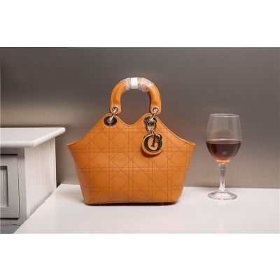 Replica Christian Dior Womens Cannage Calfskin Earth Yellow Totes Bag Golden Hardware Top Handle