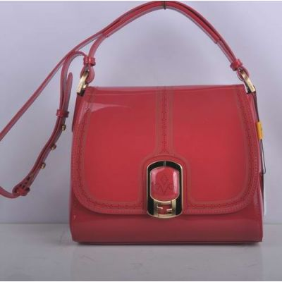 Hot Selling Fendi Red Patent Leather Female Flap Chameleon Messenger Bag Perforated Trimming Double F Buckle