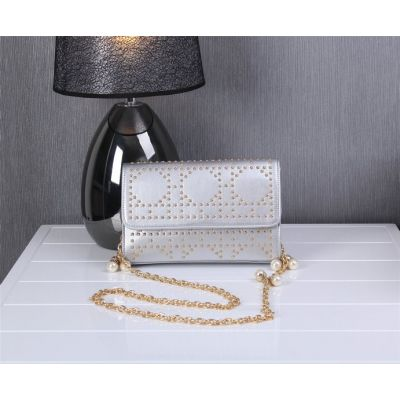 2017 Christian Dior Grey Studded Golden Chain Should Strap Jewellery Flap Bag