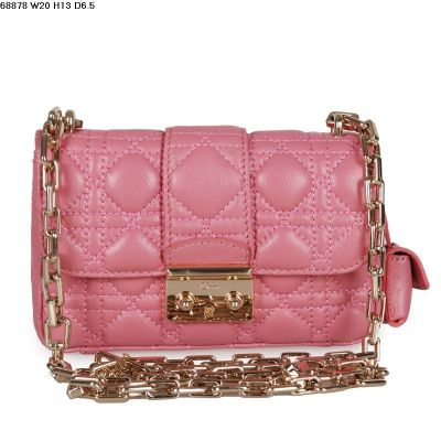 Limited Edition Pink Lambskin Leather Miss Dior Cannage Quilted Flap Shoulder Bag With Small Bag