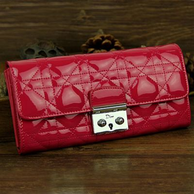 """Top Sale Women's Dior """"Lady Dior"""" Patent Leather Long Cannage Clone Wallet Red Online"""