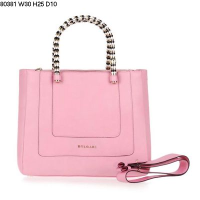Top Sale Bvlgari Serpenti Women's Soft Textile Fabric Lining Calfskin Leather Light Pink Handle Bag
