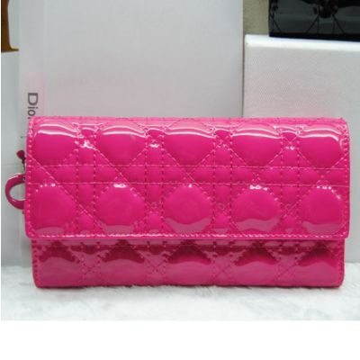 Fashion Lady Dior Women's Cannage Long Tri-fold Dior Wallet Rose Red Patent Leather Silver Hardware