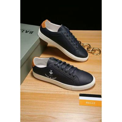 Top Sale Bally 1851 Pattern Mens Black Calfskin Leather Low-top Lace-up Sneakers White Rubber Outsole