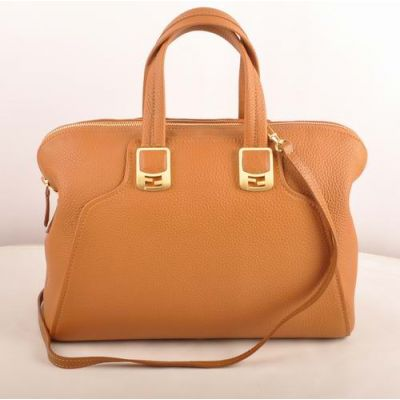 Cheapest Fendi Chameleon Khaki Imported Calfskin Leather Yellow Gold Buckle Ladies Zipper Tote Bag Two Compartments