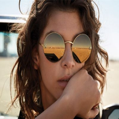 2018 Hot Selling Panthère de Cartier Rounded Golden Mirror Lenses Womens Sunglasses ESW00317 Replica