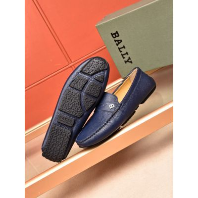 Men's Timeless Style Bally Silver Logo Charm Calfskin Leather Mocassins Divers Loafers Blue/Black Replica