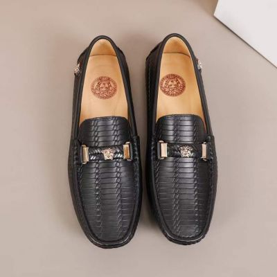 2021 Best Versace Classic Silver Medusa Stud Braid Pattern Detail Comfortable Soft Sole Male Black Calfskin Leather Loafers