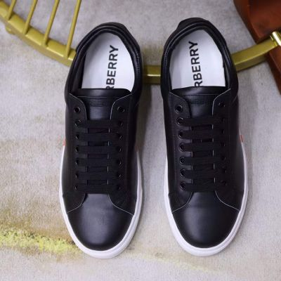 Burberry Male White Rubber Sole Multicolor Striped Classic Black Cow Leather Low-top Leisure Shoes For Sale