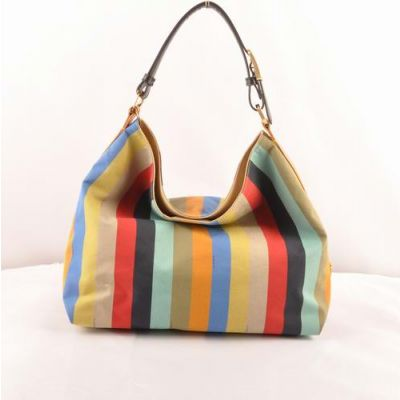 Fendi Yellow-Black Leather & Multicolor Striped Fabric Ladies Large Tote Bag Handle With Yellow Brass Buckle