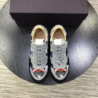 Cheap Valentino Butterfly Pattern Gray & Black Suede Leather Lace-up Studs Camouflage Sneakers For Mens Replica