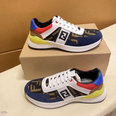 2021 Fashion Fendi F Logo Printing Mesh Detail Men Colorblock Suede Leather Lace-up Sneakers